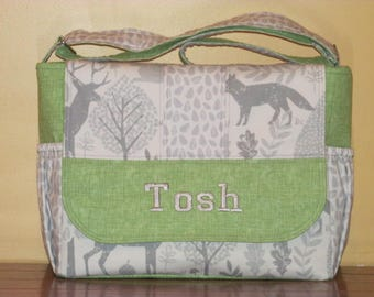 Custom Made Wilderness Print Diaper Bag - Free Embroidery!