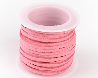 5 Meter/Roll Pink Faux Suede Cord 3x1.5mm ( No.28)
