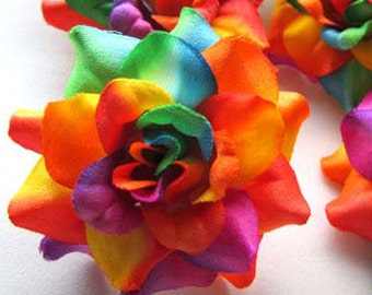 12 Rainbow mini Roses Heads - Artificial Silk Flower - 1.75 inches - Wholesale Lot - for Wedding Work, Make Hair clips, headbands, hats
