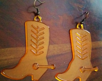 Orange Cowboy Boot Earrings