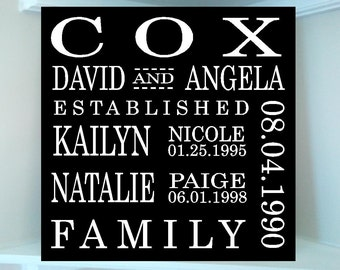 Beautiful 12 x12 wooden sign with vinyl wording includes family names, dates, anniversary subway art