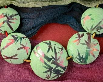 "Lampwork Bead Set of 5 ""Bamboo & Dragonflies"" Sandblasted Iridescent Glass Handmade Lentil Beads SRA Graded Set ~ Meadow Shades"