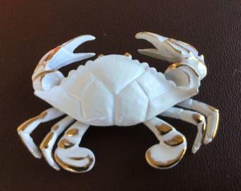 Vintage Napier White Enamel Crab Pin