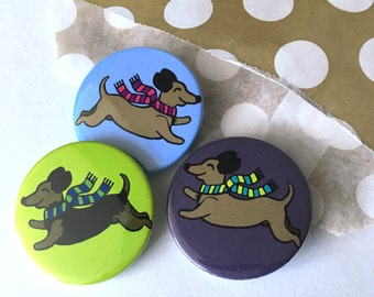 Sausage Dog badges, stocking stuffer Dachshund brooch, cute wiener dog lapel Pin badge, party bag fillers, party favours, Stocki