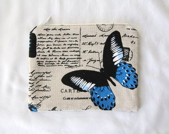 Zipper pouch | blue butterfly motif | 19cm x 15cm