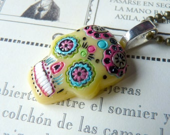 Yellow Day of the Dead Mexican Skull Necklace Kawaii - Choose Color Short Chain