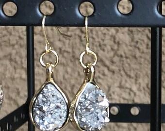 Silver Druzzy drop earrings