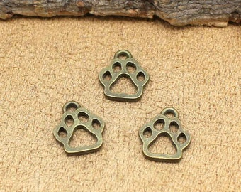 60pcs Antique Bronze Dog Paw Charms Pendant 2 Sided 13x11mm C2250-T