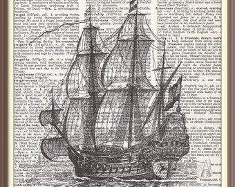Old Ship--Vintage Dictionary Art Print---Fits 8x10 Mat or Frame