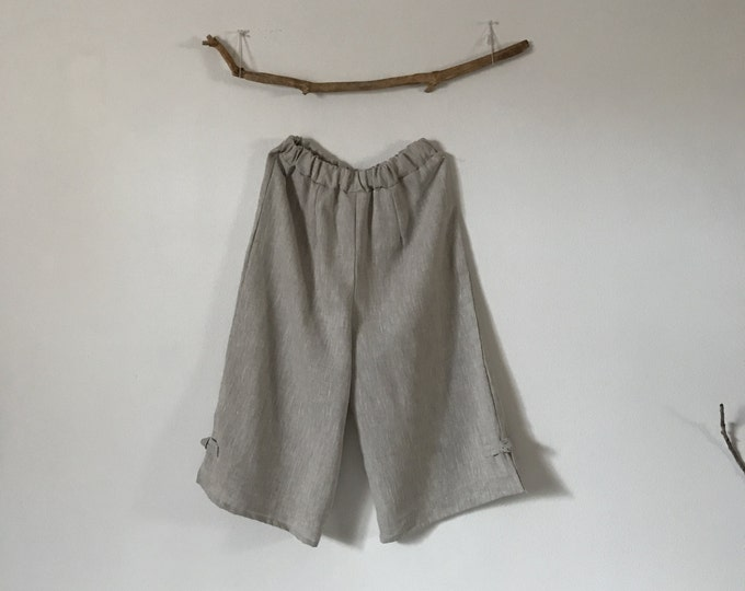 custom linen elastic waist peasant Capri pants made to fit listing / linen capri / peasant pants / custom linen pants / plus size / petite