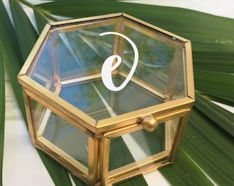 Hexagon Ring Box Personalized Glass Box Customized Jewelry Box / Bridesmaid Gift / Personalized Gift / Engagement Gift / Ring Bearer