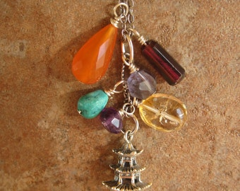 PAGODA OF PEACE Multi gemstone and sterling silver pagoda necklace