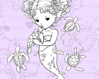 PNG Digital Stamp - Sea Turtle Kiss Full Version - Little Mermaid and Baby Turtles - Fantasy Line Art for Cards & Crafts by Mitzi Sato-Wiuff