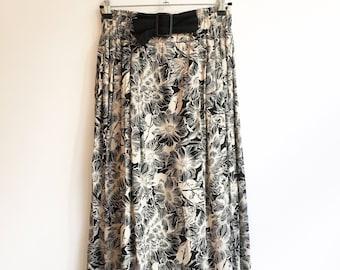 vintage printed floral belted skirt S/M