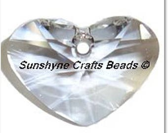 Swarovski CRYSTAL Clear 6260 17mm Crazy 4 U Heart Pendant 1 Pc - Swarovski Crystal Elements Beads