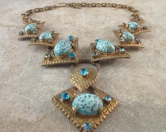 Vintage Pendant Necklace / Aqua Rhinestones & Turquoise Art Glass Cabochons / Boho Beach