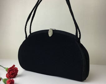 40's Pleated H.L. Black Evening Bag with Rhinestone Clasp