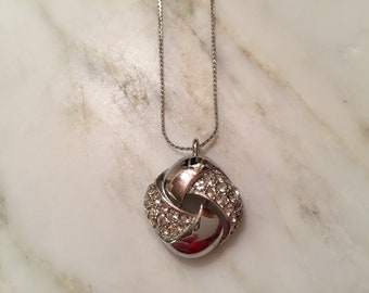 "Vintage Givenchy silver tone and rhinestone pendant necklace, in excellent condition. 16"" L x 1"" pendant."