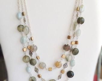 Gemstone Necklace. Aqua Necklace. Blue Necklace. Gold Bead Necklace. Multi strand Necklace. Agate Necklace. Amazonite Necklace. Quartz Bead.