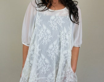 Vintage Lace Shift Dress White Short Sleeve Chiffon Layered Flowy Airy Boho Spring Summer Floral Size Small