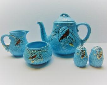 Vintage Wade Tea Set  Golden Turquoise Teapot , Creamer , Sugar Bowl, Salt and Pepper Set