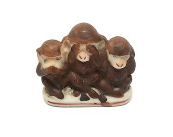 Occupied Japan, See No Evil, Monkeys, Figurine, Porcelain, 1940, Hear No Evil