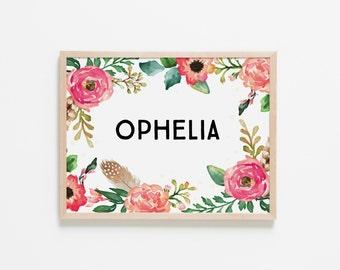 Floral Dreams Personalized Nursery Art. Nursery Wall Art. Nursery Prints. Nursery Decor. Girl Wall Art. Personalized Art. Instant Download.