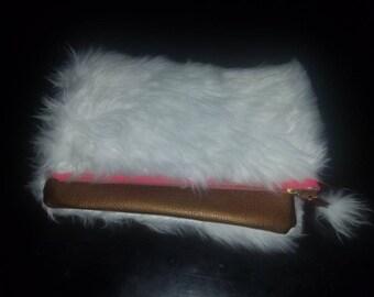 Faux Leather & Faux Fur Clutch