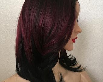 Summer wigs burgundy mixed black 12 inch long silk smooth texture wavy layered straight hair