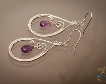 Amethyst Drop Silver Earrings / birthstone earrings / wire wrapped earring / boho jewelry / silver jewelry / purple earrings / gemstone