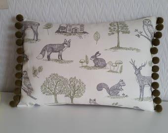 Handmade Woodland Forest Animals Pom Pom Cushion Cover