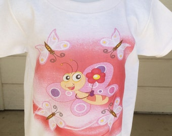 Butterfly Graphic Infant Toddler And Children's White Tshirt