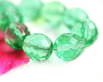 10mm Light green glass beads, fire polished czech glass green beads, large round faceted ball beads - 6Pc - 1989