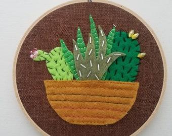 Felt Succulent Garden Hoop Art