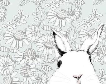 Rabbit Art - Nursery Art - Bunny Rabbit Print - White Rabbit Drawing  - Where's Alice  Wallpaper Background