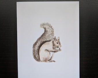 Handmade squirrel illustration blank card