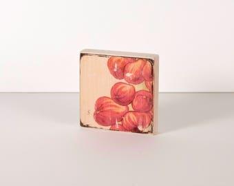 Pomegranate Art Block, Art Blocks, Boho Art, Wood Printing, Wood Block Art, Berries, Small Art, Vintage Art Print, Botanical Print
