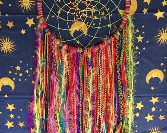 XL Handmade Rainbow Hippy Dreamcatcher