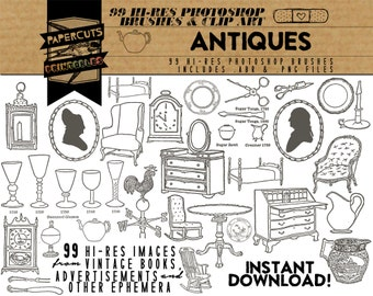 Antiques - 99 Hi-Res Photoshop Brushes / Clip Art / Image Pack - Includes .ABR and .PNG Files