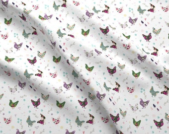 "Patchwork Hens Fabric - Patchwork Hens 5.25"" By Shopcabin - Floral Chickens Farm Animals Birds Cotton Fabric By The Yard With Spoonflower"