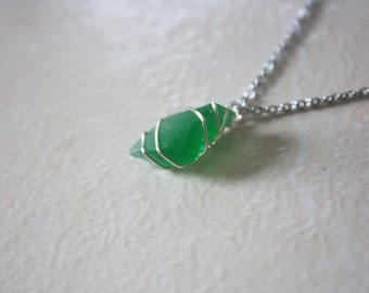 Green wire wrapped sea glass necklace