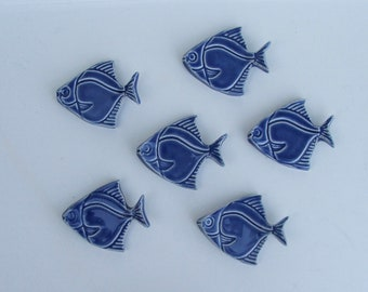 Ceramic knife rests/ChopStick/ Pen Rests, Hand Made,  Set of 6, Angelfish