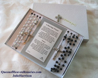 Wedding Rosary Set,  Bridal Rosaries -Pearl Rosary-Bride's Rosary-Groom's Rosary