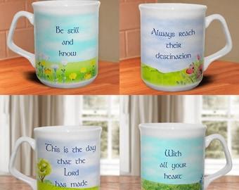Christian mug - set of four, Scripture mug,encouraging Bible verses