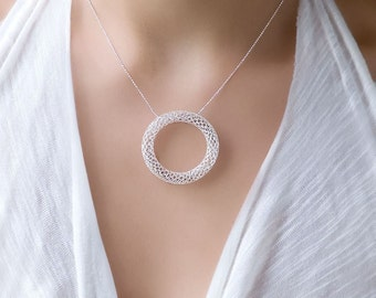 Silver Circle Necklace, Statement Necklace Ring, Large Pendant Necklace, Karma Necklace, Delicate Necklace Silver, Open Circle Necklace