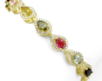 Natural Fancy Tourmaline gemstones, CZ's, 14kt Yellow Gold Bracelet 7 1/4""