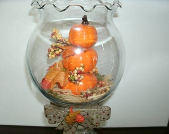 New! Fall Lighted Glass Globe, Holiday Table Arrangement, Lighted Pumpkin Centerpiece, Lighted Home Decor, Holiday Decor, Stacked Pumpkins,