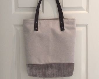 Handmade Tote Bag - Recycled Textiles - Unique - Eco Friendly - Leather Straps -Shoulder Bag
