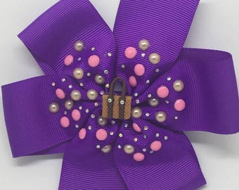 You can never have too many handbags - Large: 12.5cm Pinwheel Hair Bow Clip