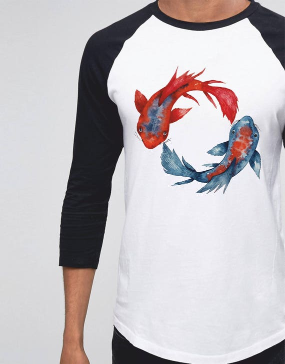 Yin Yang Koi Fish | Unisex Raglan T-Shirt | 3/4 sleeves | Basketball shirt | Apparel for her / him | Watercolor japanese carp | ZuskaArt